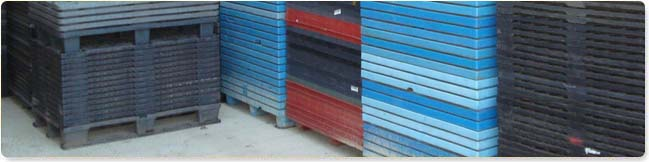 plastic pallets stacked