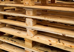 wooden pallets stacked